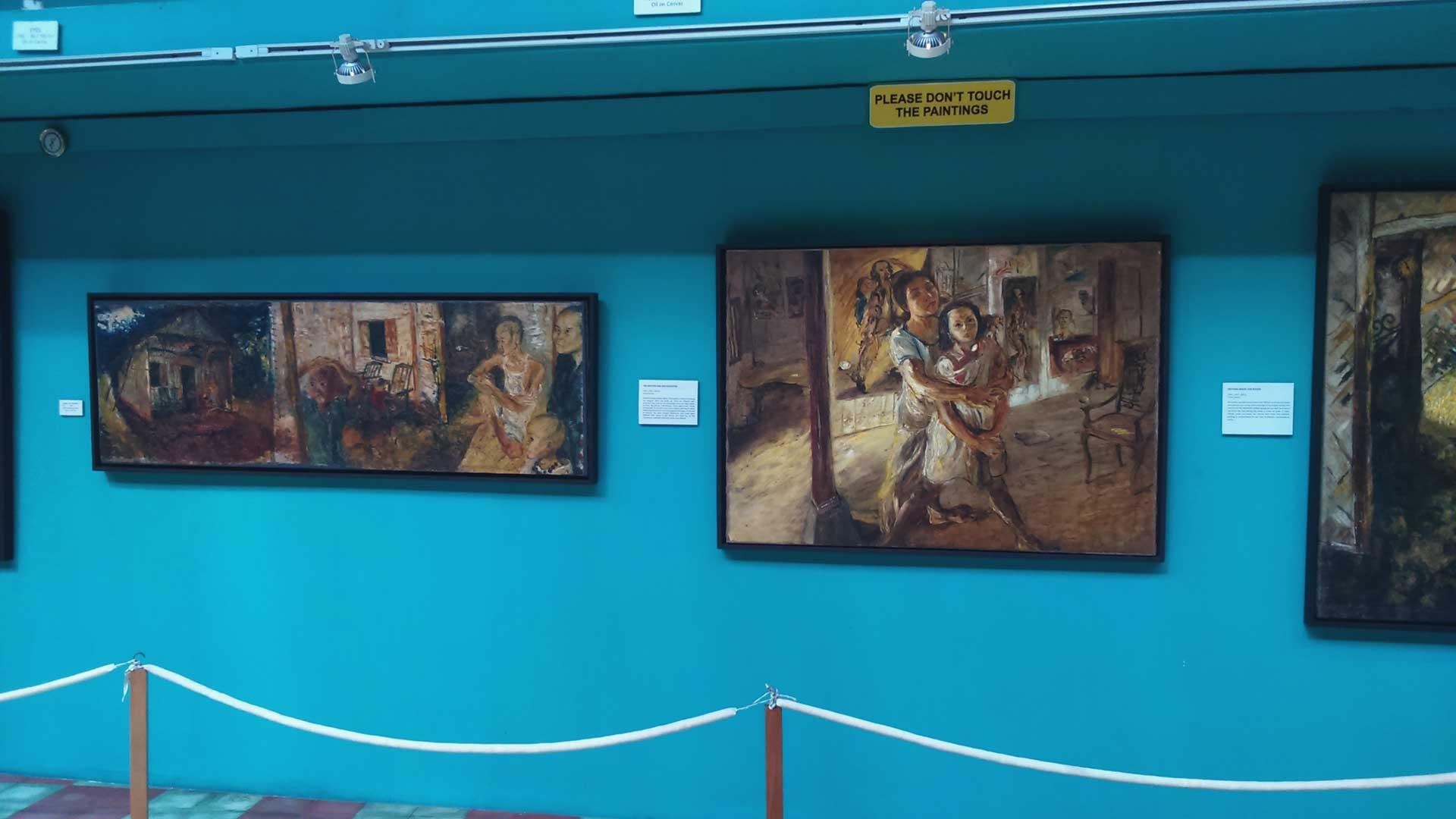 Lukisan pelepah pisang museum Affandi