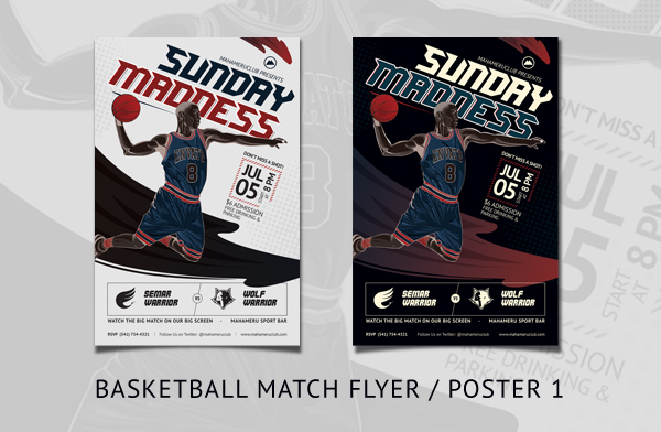 Basketball Match Illustrated Flyer